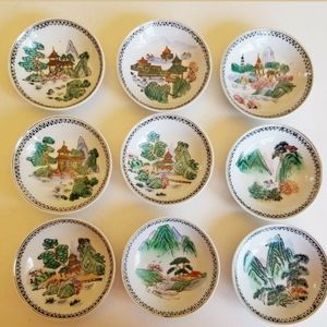 Vintage Set of 9 Chinese Decorative Sauce Dishes